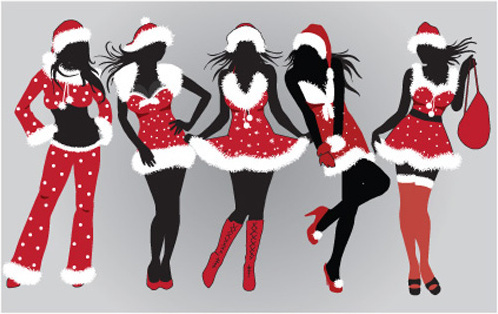 christmas with maiden design elements vector