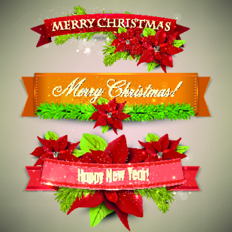 christmas with new year festival banner vector