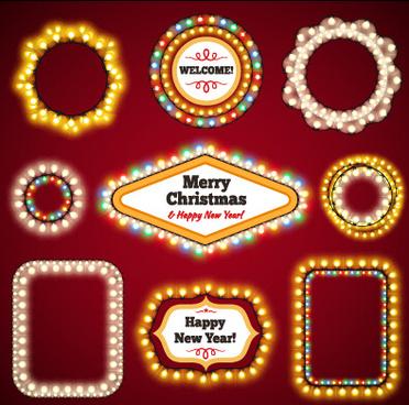 christmas with new year light framework vector