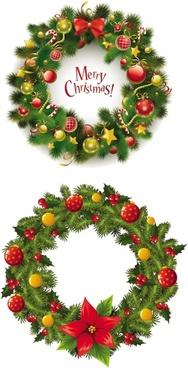 christmas wreath 2 vector