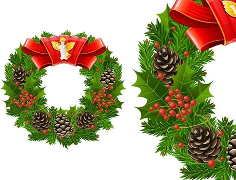 christmas wreath cool texture vector