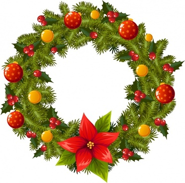 xmas wreath icon elegant colorful modern design