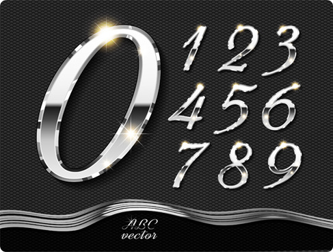 chrome silver numerals vector