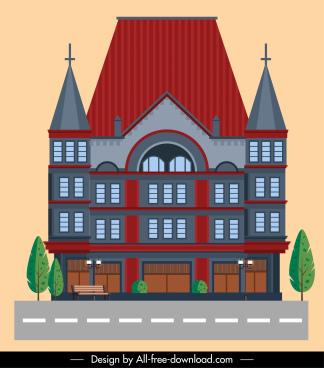 church architecture template elegant classic symmetric design
