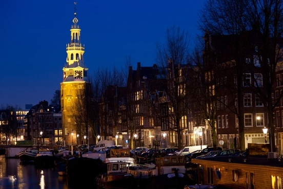 church in amsterdam at night