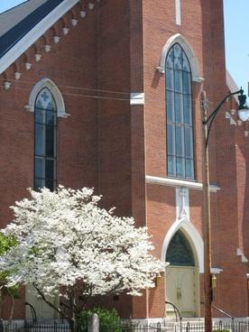 church in the springtime
