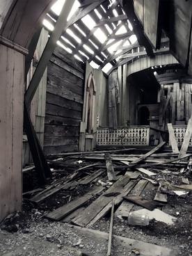 church inside ruin