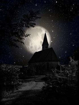 church moon night