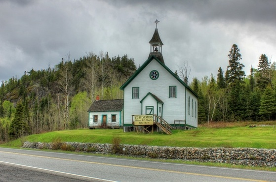 church on the roadside at lake nipigon ontario canada