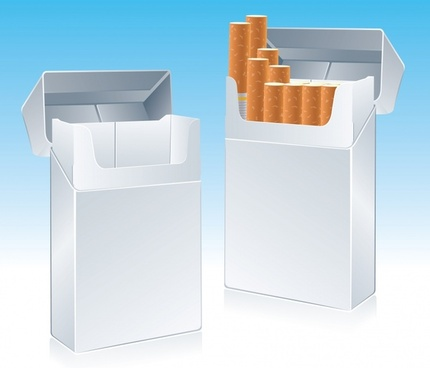 cigarette box icons shiny 3d realistic sketch