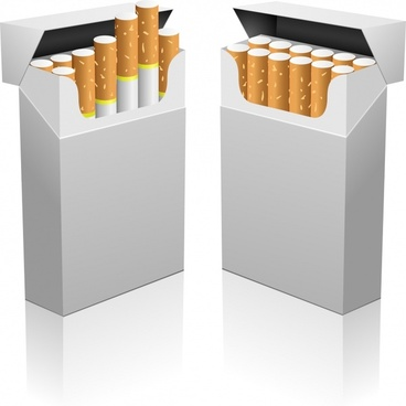 tobacco package icons modern realistic 3d sketch