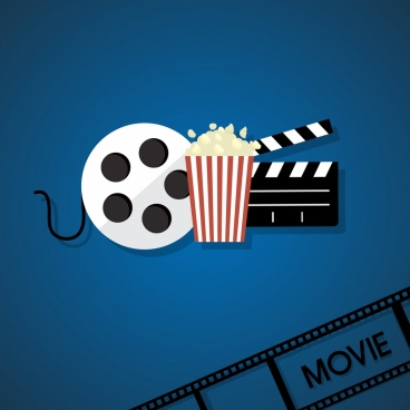 cinema background filmstrip reel popcorn icon flat design