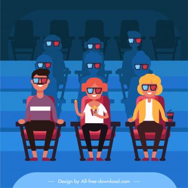 cinema background glasses audiences sketch cartoon design