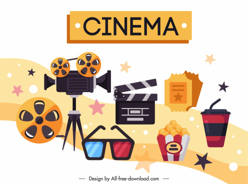 cinema design elements colorful classic flat design