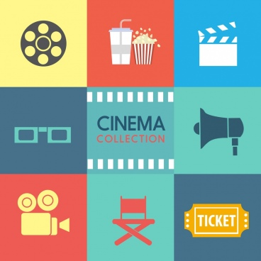 cinema design elements various flat symbols isolation