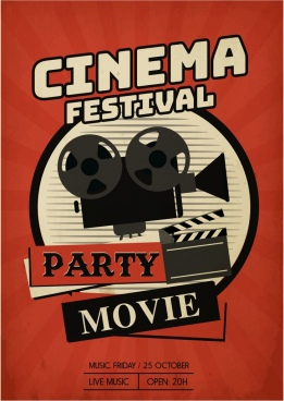 cinema festival banner retro dark red brown decor