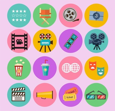 cinema film icons isolated with colored symbols