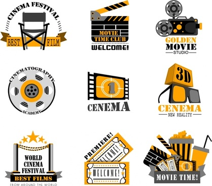 cinema film logo sets isolated in vintage style
