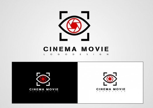 cinema movie logotype eye icon text decoration