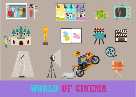 cinema symbols illustration with various colored styles