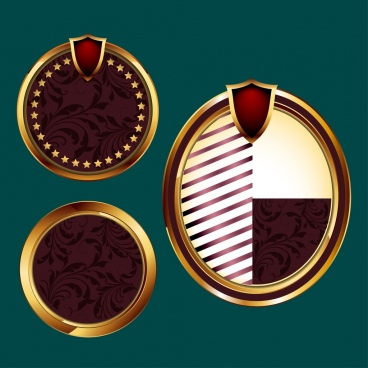circle badges collection shiny classical brown design