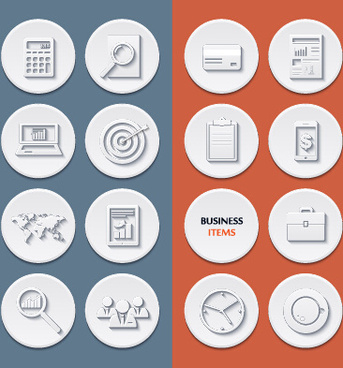 circle flat icons set vectors