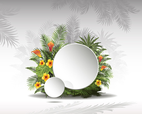 circle paper and tropical plants vector background