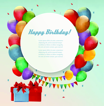 circle with balloons birthday background vector