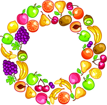 circular arrangement fresh fruit vector