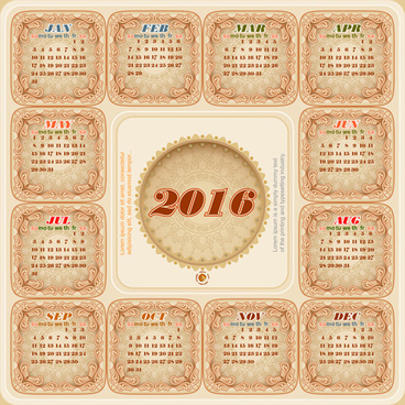 circular calendar16 vintage vector