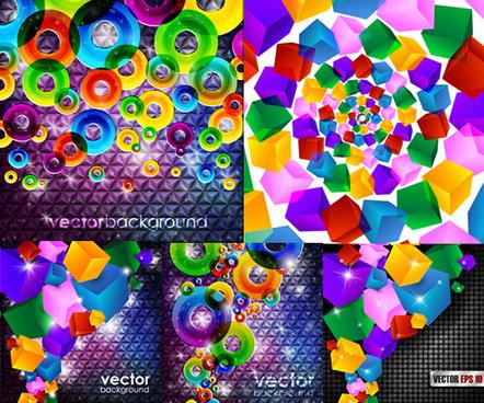 circular cube background design vector