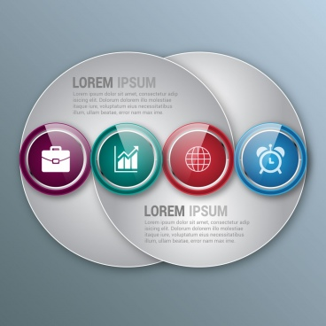 circular infographic design shiny curves and rounds decoration