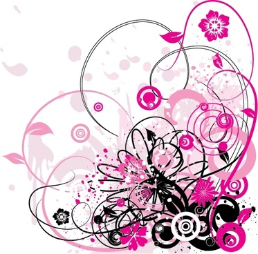 abstract background flowers icons grunge curves ornament