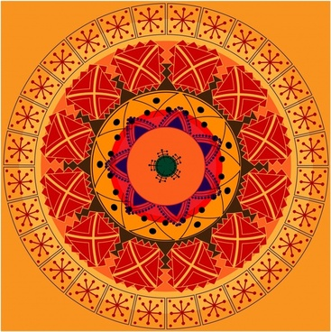 ethnic background classical symmetrical circle layout