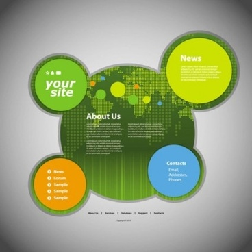 circular website template green styles vector