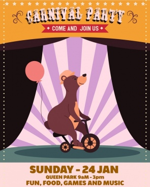 circus advertisement cute bear bicycle icons classical design