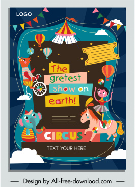 circus advertising banner cute colorful cartoon characters sketch