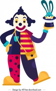 circus background clown rabbit hat magic icons