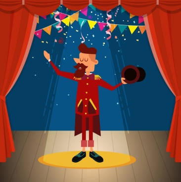 circus background performance man icon colored cartoon