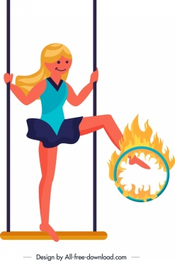 circus background performing girl flame icons cartoon design