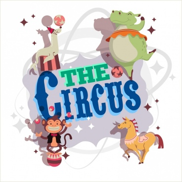 circus banner animals icons decor