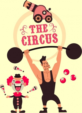 circus banner athlete clown performance icons cartoon design