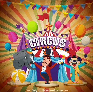 circus banner classic colorful dynamic eventful elements decor
