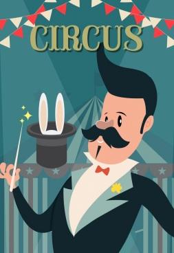 circus banner male magician icon cartoon design