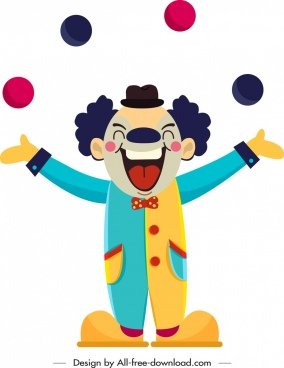circus clown icon funny cartoon character sketch