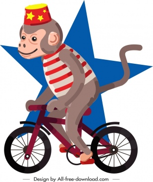 circus design element monkey riding bicycle icon