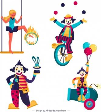circus design elements clown performer icons cartoon design