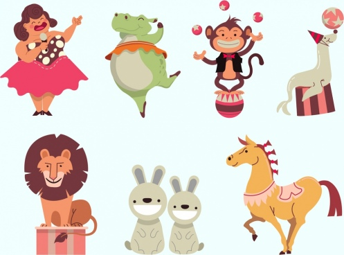 circus design elements colored cartoon characters