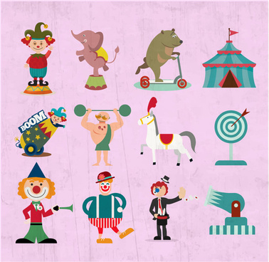 circus design elements illustration with various styles