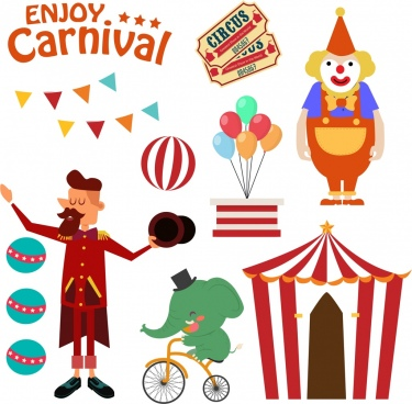 circus design elements multicolored symbols